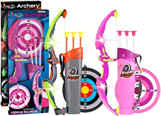 POKONBOY 2 Sets Bow and Arrow for Kids, LED Light Up Archery Sets for Kids Outdoor Hunting Game with Quivers and Targets, ...