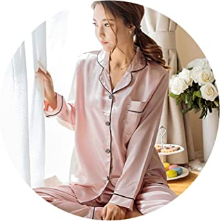 2018 Autumn Women Ladies Sexy Satin Silk Pajamas Sets Long Sleeve Tops+Pants  Sleepwear 805a8c79d