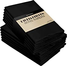 Utopia Kitchen Cloth Napkins 18 by 18 Inches, 12 Pack Black Dinner Napkins, Cotton Blend Soft Durable Napkins