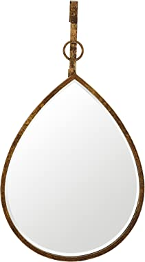 Amazon Brand – Rivet Rain Drop Oval Hanging Wall Mirror, 24 Inch Height, Weathered Finish