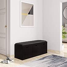 Amazon Brand - Solimo Andro Engineered Wood 3-Door Shoe Rack with Seat (Espresso Finish)