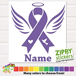 Custom Cancer Memoriam - Memorial Angel Ribbon Vinyl Decal Sticker with Name. Cancer Ribbon Decal Angel In Memory of personalized for Car Windows, Yeti Rtic Tumbler Cups, Laptops. Color Size Name