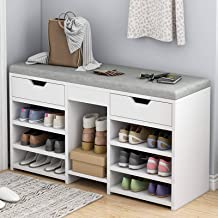 Shoe Bench 2 Tier Shoe Rack, Wooden Shoes Cabinet Shoe Storage Organizer with Drawer and Seat Cushion, for Entryway, Livin...