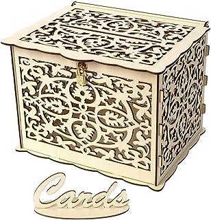 DIY Wedding Card Box with Lock,JUFEN Rustic Wood Card Box, Gift Card Holder Card Box Perfect for Weddings, Baby Showers, B...