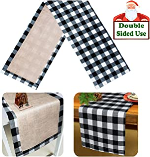 Senneny Christmas Large Table Runner Burlap & Cotton Black White Plaid Reversible Buffalo Check Table Runner for Christmas Holiday Birthday Party Table Home Decoration (14
