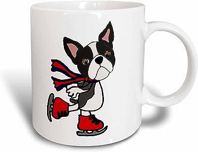 3dRose All Smiles アートペット - 面白い かわいい ボストンテリア 子犬 アイススケート カートゥーン - マグカップ 11 oz mug_264028_1