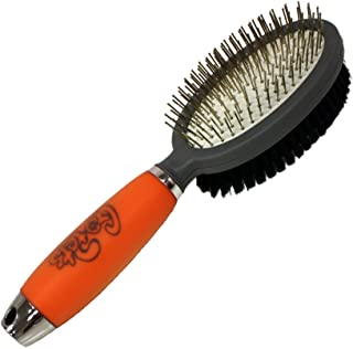Professional Double Sided Pin & Bristle Brush for Dogs & Cats by GoPets Grooming Comb Cleans Pets Shedding & Dirt for Shor...