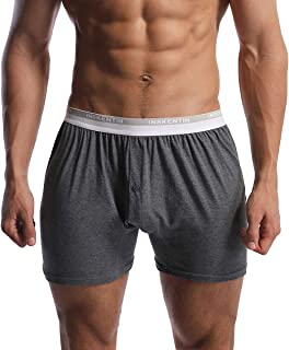 Inskentin 3 Pack Men's Cotton Knit Loose Boxers Relaxed Fit Tagless Soft Underwear with Button Fly