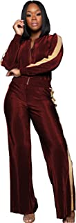 Women's Velvet 2 Piece Outfit Long Sleeve Zip up Jacket and Wide Leg Pants Set Tracksuit