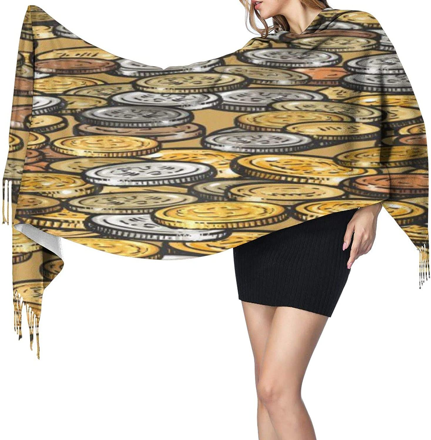 Cashmere fringed scarf Gold Coins Pattern winter extra large scarf