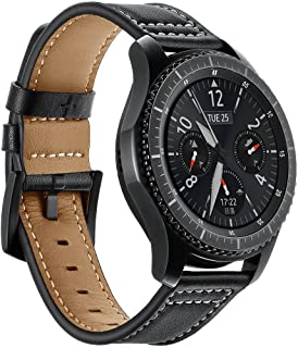 AiiKo Compatible with Gear S3 Bands,22mm Genuine Leather Watch Strap Buckle Bracelet with Quick Release Pin Replacement for Samsung Gear S3 Classic/Frontier/Galaxy Watch 46mm,Black