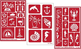 3 Armour Etch Over N Over Reusable Glass Etching Stencils Set | Nautical Theme | Paradise, Seashore, Under The Sea