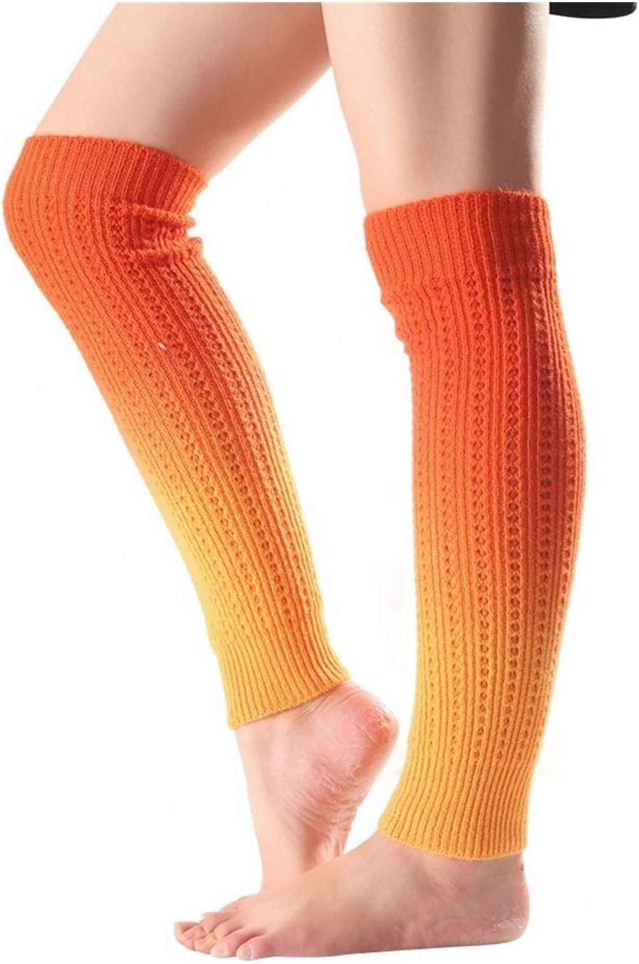 YUNSHAO Leg Warmers for Women & Girls, Gradient Knee High Women Boot Socks Winter Knitted Footless Leg Sleeve Warmer Socks Leg Warmer (Color : Orange, Size : 53cm x 10cm)