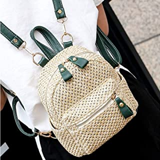 Fashionable ladies backpack, Women Straw Backpack with Polyester Fashion Mini Weave Hollow Shoulder Beach Leisure Bag