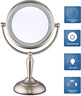 Cerdeco 1X/10X Magnification Lighted Makeup Mirror, Smart-Touch Cool, Warm, Daylight, Cord Operated or Battery Operated, Brushed Nickel