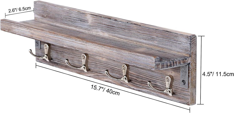 Halcent Perchero de Pared Estanter/ía Flotante Perchas de Pared Madera Colgador Llaves Perchero Puerta con 4 Gancho para Abrigos Toalla Bultos Gorras