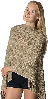 LL Poncho Sweater Womens Asymmetrical Short Crochet Knit Batwing Wrap Fringe