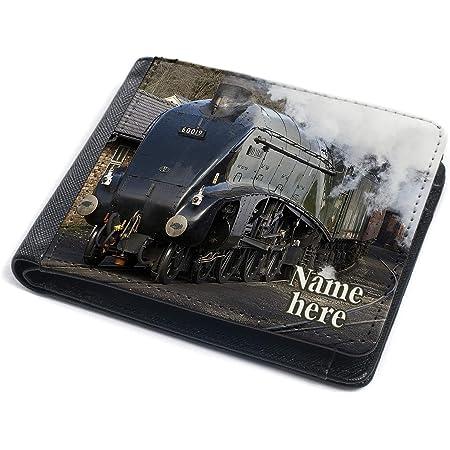 Steam Train Wallet Mens Bi-Fold Coin Card Holder Trainspotter Personalised (Steam Train ST163)