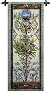 Textured View I by Douglas   Woven Tapestry Wall Art Hanging   Intricate Tropical Foliage Scrolling Artwork   100% Cotton USA Size 53x17