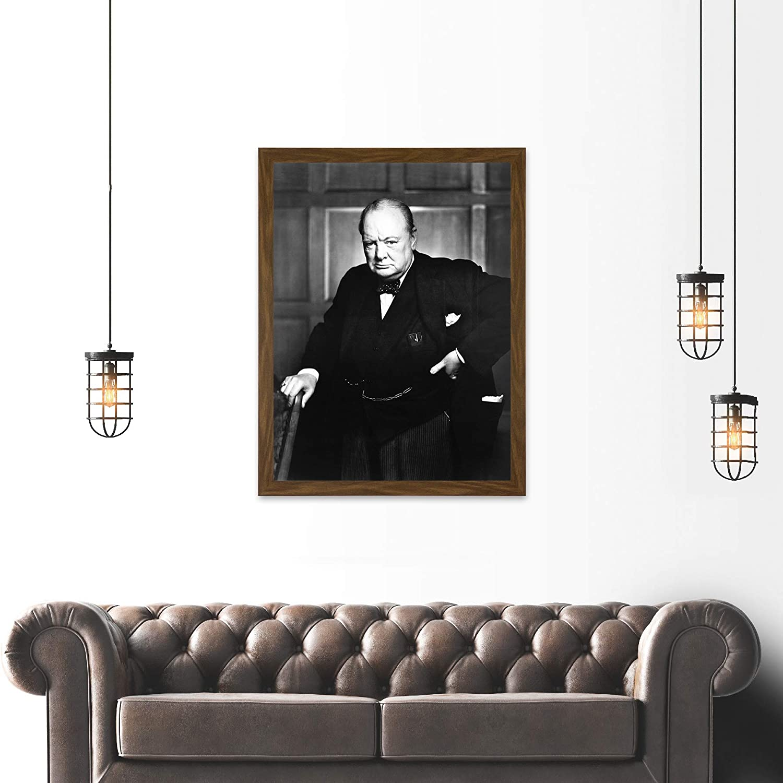 VINTAGE PHOTOGRAPHY WINSTON CHURCHILL PORTRAIT BLACK WHITE CIGAR POSTER LV11456