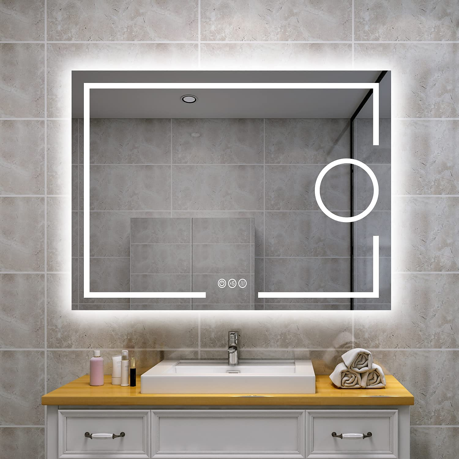 Qasole Magnifying Mirror LED for Bathroom L Our shop OFFers the best service Wall with Luxury goods mounting -