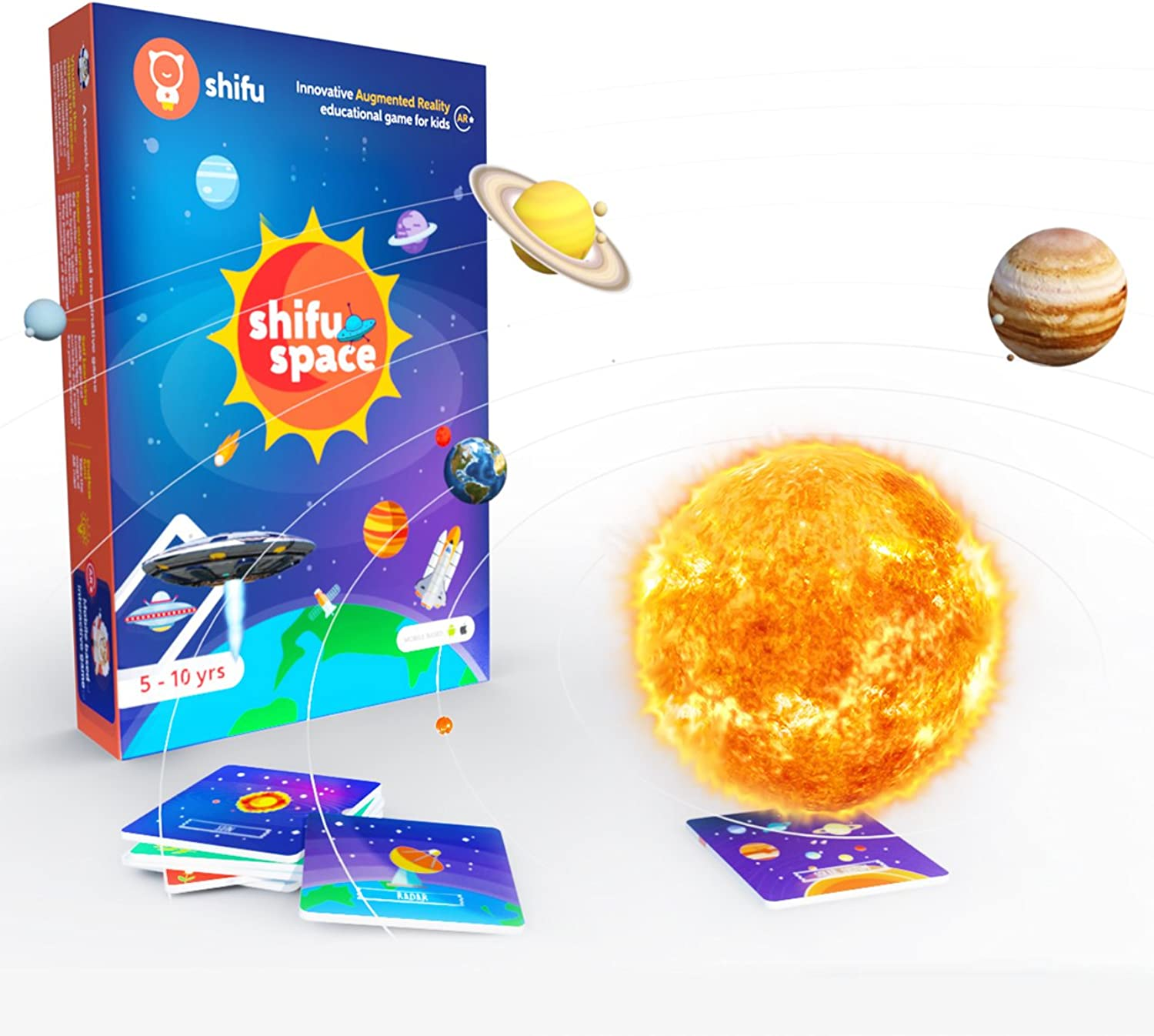 Shifu Space  60 Space Objects in 4D  Augmented Reality Educational Game (Gift for Kids  Boys & Girls Age 510 Years  Fun & STEM Learning)  Solar System, Satellites, Missions & Key People