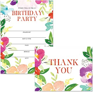 Birthday Party Invitations & Thank You Cards Matched Set (100 of Each) Envelopes Included, Lovely Flowers Large Office Church B'day Party Fill-in Guest Invites & Folded Thank You Notes Great Value