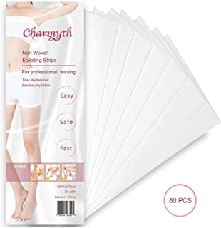 Charmyth Wax Strips Hair Removal, Body and Facial Non-Woven Wax Strips disposable, Depilatory Paper for Women and Men 3 x 9 inches (80PCS)
