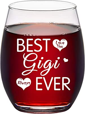 BEST GiGi EVER Stemless Wine Glass, Funny Gift Idea for Mom Mother Mimi Nana Gigi Grandma Birthday Mother's Day Christmas, 15Oz Wine Gifts for Mom from Daughter Son