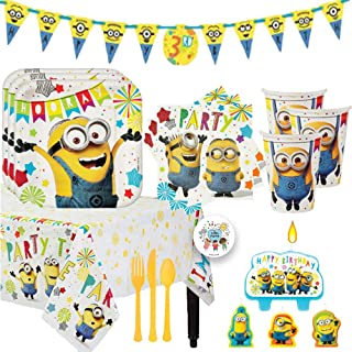 Despicable Me Minions Birthday Party Supplies and Decoration Pack For 16 With Plates, Cups, Napkins, Tablecover, Candles, Add An Age Banner, Cutlery, and Pin