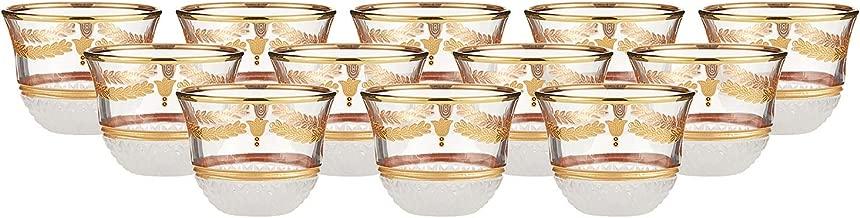 AlMarjan Turkish Cawa Cup Set 9235-101-102003-14, 12 Pieces - Clear & Gold