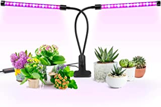 Grow Light, Imikoko [2018 Upgraded Version] Timing Dual Head Grow Light 36LED 5 Dimmable Levels Plant LED Grow Lights for Indoor Plants with Red/Blue Spectrum, Adjustable Gooseneck, 3/6/12H Timer