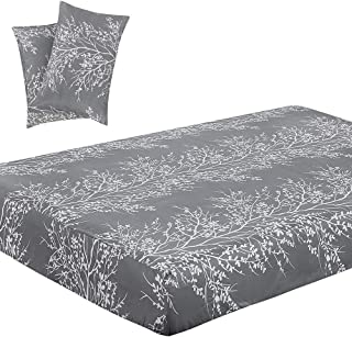 Vaulia Soft Microfiber Sheets, Tree Branch Printed Pattern, Grey Queen Size, 3-Piece Set (1 Fitted Sheet, 2 Pillowcases)