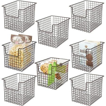 mDesign Metal Kitchen Pantry Food Storage Basket Bin 4 Pack Gray Small Wide