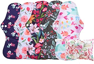 6Pcs Set Menstrual Pads Reusable Washable Charcoal Bamboo Layer Heavy Flow 13 inch Sanitay Pads with 1 Cloth Mini Wet Bag by Simfamily