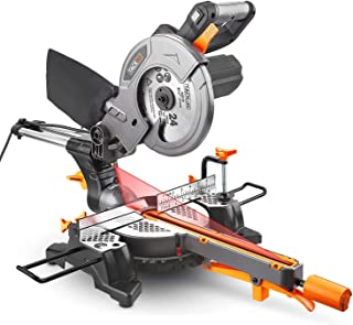 "Miter Saw with Laser, TACKLIFE 12.5-Amp 4500RPM 8-1/2'' Single-Bevel Compound Sliding Miter Saw, 7.87"" Stroke Length, 10 feet (3M) Core Length, Lightweight Aluminum Guard - Tacklife PMS01X"