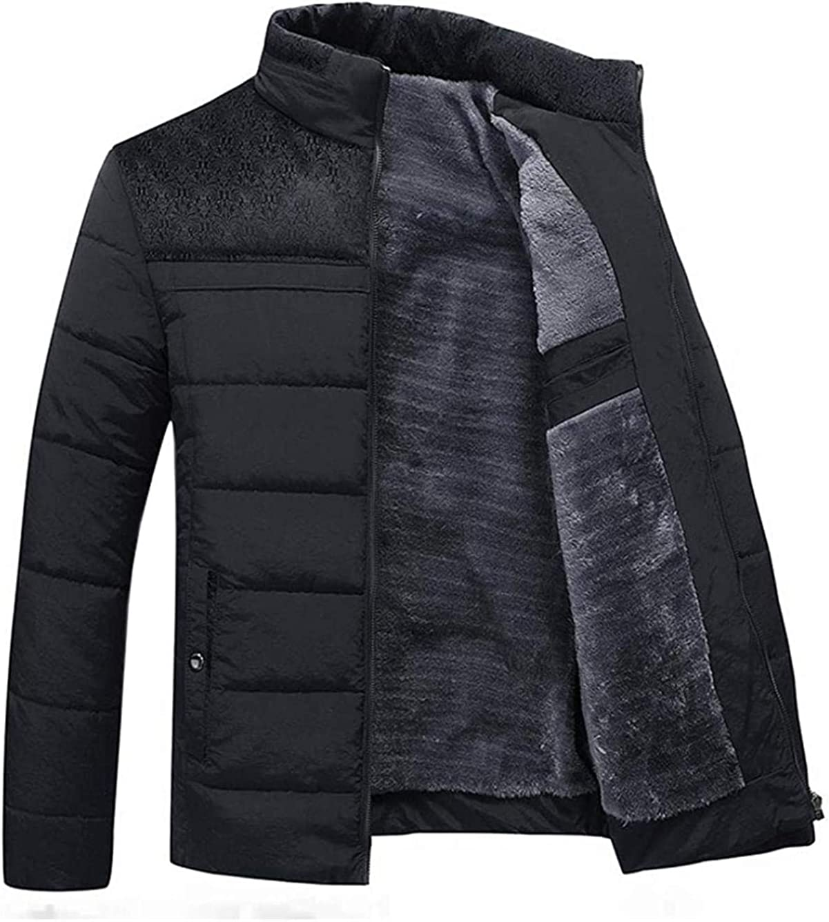 Men's Winter Stand Collar Thicken Sherpa Lined Puffer Down Alternative Jacket Coat