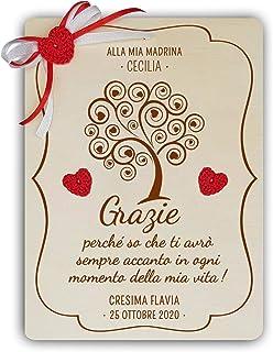Crociedelizie, targa albero della vita targhetta ricordo madrina padrino battesimo cresima idea regalo ringraziamento pers...