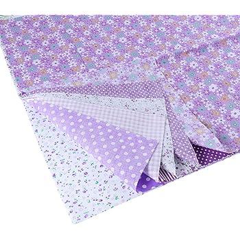 EXCEART 7 hojas de tela de algodón floral cuadros de tela floral tela de acolchado para patchwork costura diy scrapbooking 50x50cm (púrpura): Amazon.es: Hogar