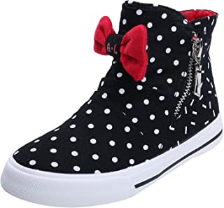 Alexis Leroy Girls' Bowknot High-Top Zipper Canvas Sneakers
