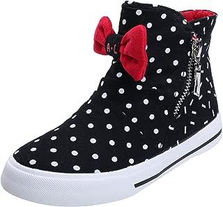 Alexis Leroy Girls' Bowknot High-Top Zipper Canvas Sneakers