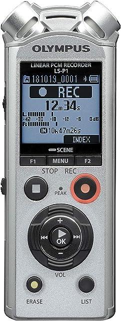 Olympus LS-P1 - Grabadora de Audio Digital de Alta Resolución con Micrófonos Estéreo Direccionales Ligación USB Cancelación de Ruido Micrófono con Zoom Modo Automático Inteligente y Memoria 4 GB