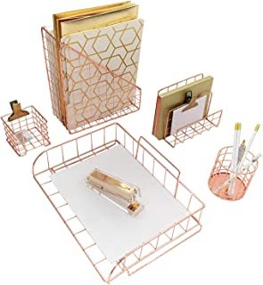 Blu Monaco Office Supplies Rose Gold Desk Accessories for Women - 5 Piece Wire Rose Gold Desk Organizer Set - Letter Sorter, Paper Tray, Pen Cup, Magazine File, Sticky Note Holder