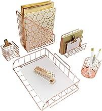 Blu Monaco Office Supplies Rose Gold Desk Accessories for Women - 5 Piece Wire Rose Gold Desk Organizer Set - Letter Sorter, Paper Tray, Pen Cup, Magazine File, Sticky Note Holder
