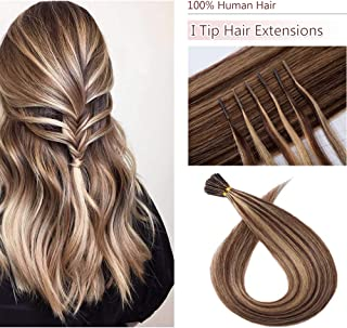 100 Strands/Pack I Tip Remy Human Hair Extensions Pre Bonded Keratin Stick In Hair Extensions Cold Fusion Hair Piece For Women Long Straight #4P27 Medium Brown&Dark Blonde 22'' 50g