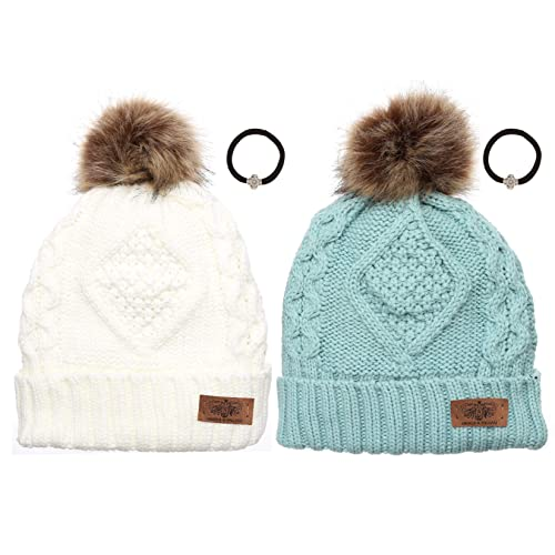 ANGELA   WILLIAM Women s Winter Fleece Lined Cable Knitted Pom Pom Beanie  Hat with Hair Tie 098a7027e0d7