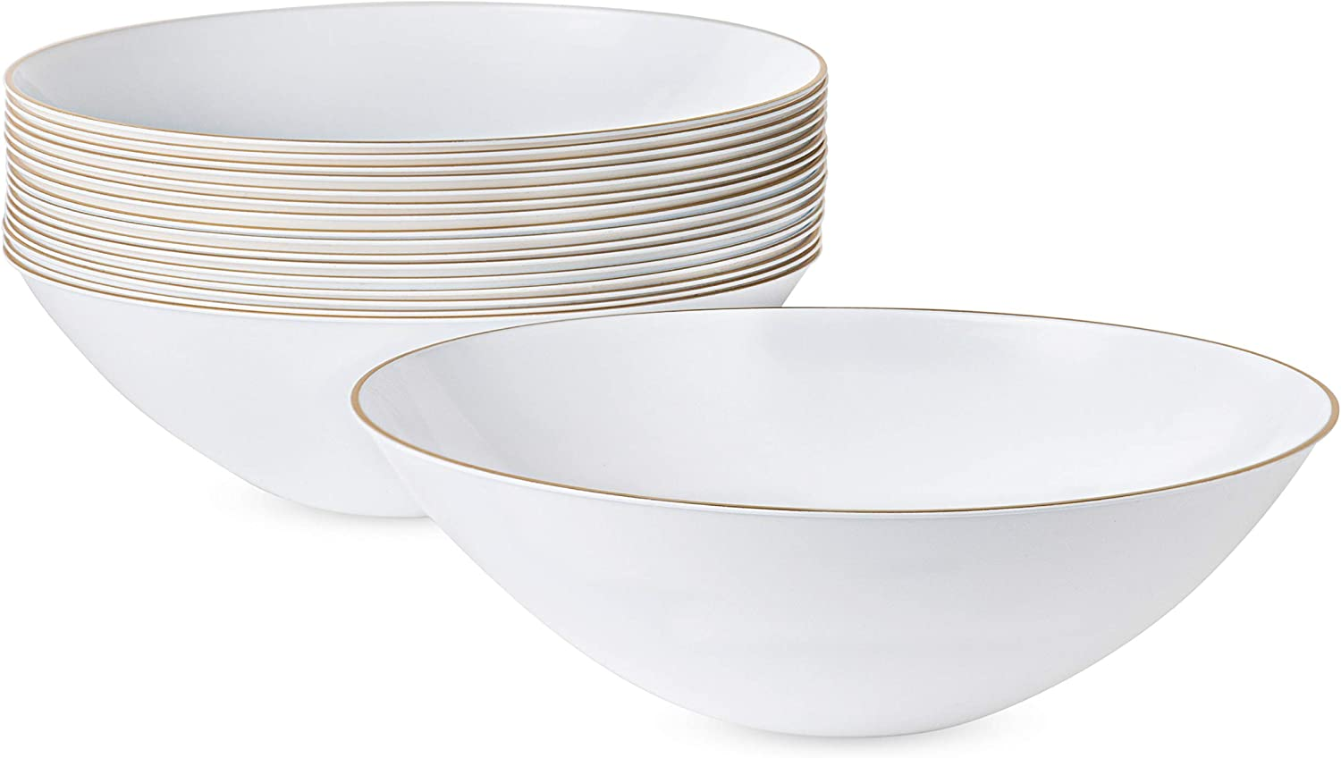 White Plastic Organic Party Soup bowls With Silver Rim Premium heavyweight Elegant Disposable Tableware Dishes 16 OZ 10 Count