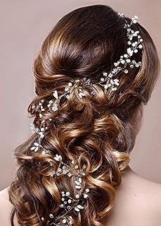 Wedding Bridal Headpiece, Rhinestone Pearl Hair Vine