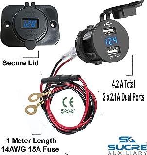 USB 12 V/24 V, Zigarettenanzünder buchse mit 2 USB Steckplätzen 4.2A + 1 m Kabelanschluss