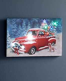 The Lakeside Collection Pick Up Truck Artistic Christmas Wall Picture - Holiday Home Decoration